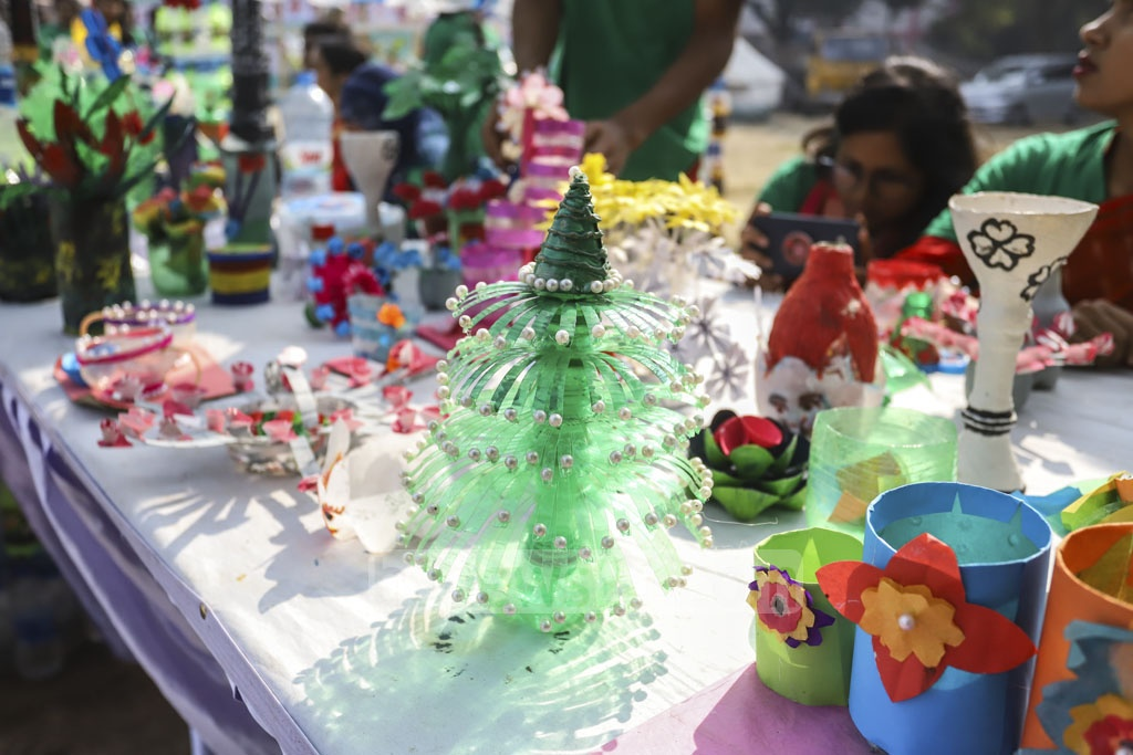 Several objects made out of empty plastic bottles collected by the BD Clean members are displayed at the exhibition. Photo: Asif Mahmud Ove