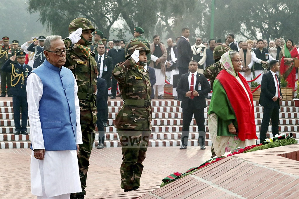 President Md Abdul Hamid and Prime Minister Sheikh Hasina at the National Memorial on Monday to mark the 48th anniversary of victory in the Liberation War.