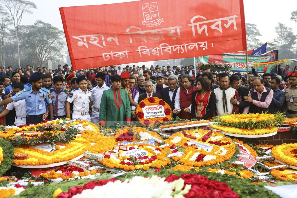 Dhaka University Vice Chancellor Md Akhtaruzzaman paying respects at the National Memorial on Monday on behalf of the university. Photo: Asif Mahmud Ove