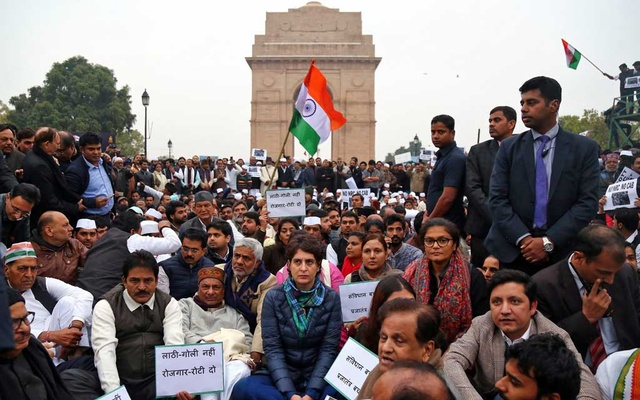 Priyanka Gandhi Vadra, a leader of India's main opposition Congress party, along with her party's supporters attend a protest against a new citizenship law, in front of India Gate war memorial in New Delhi, India, December 16, 2019. Reuters