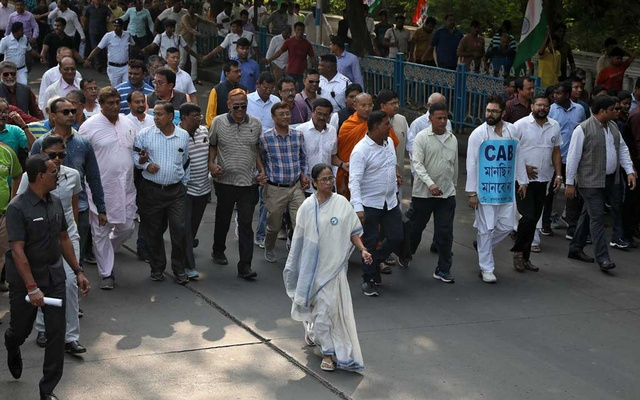 Mamata Banerjee, the Chief Minister of West Bengal, and her party supporters attend a protest march against the National Register of Citizens (NRC) and a new citizenship law, in Kolkata, India, December 16, 2019. Reuters
