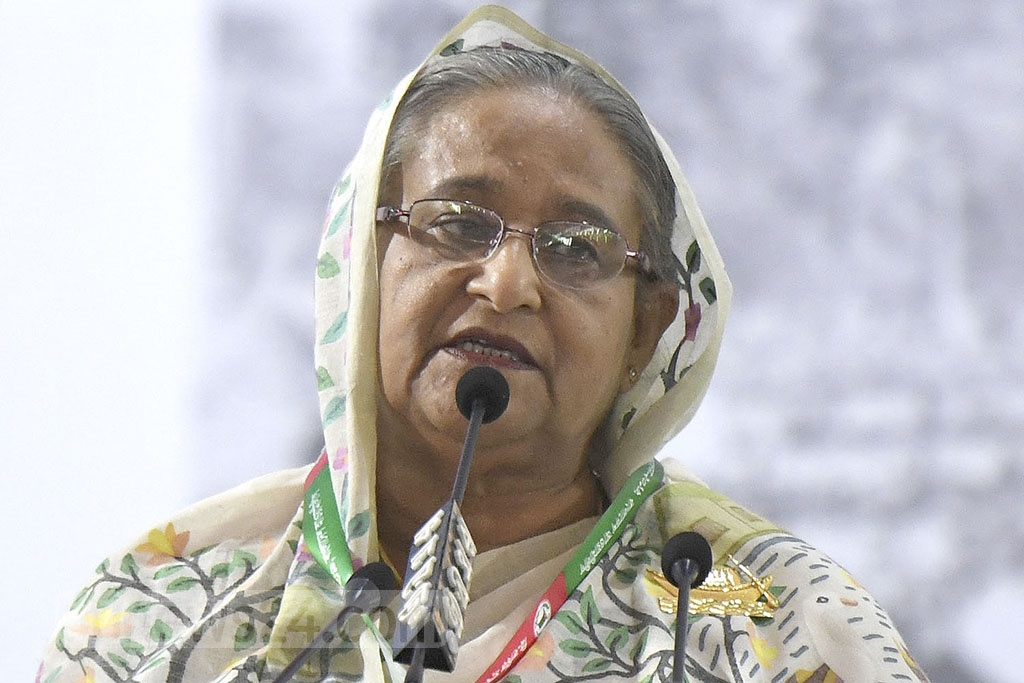 Prime Minister Sheikh Hasina attends the 21st National Council of the ruling Awami League at the Suhrawardy Udyan on Friday.