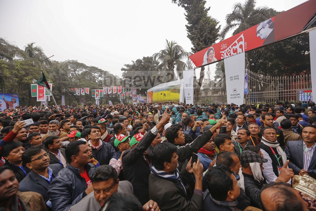 The Awami League leaders and activists are elated after the party re-elects Sheikh Hasina and Obaidul Quader to lead the ruling party as president and general secretary respectively for the next three years. Photo: Mahmud Zaman Ovi