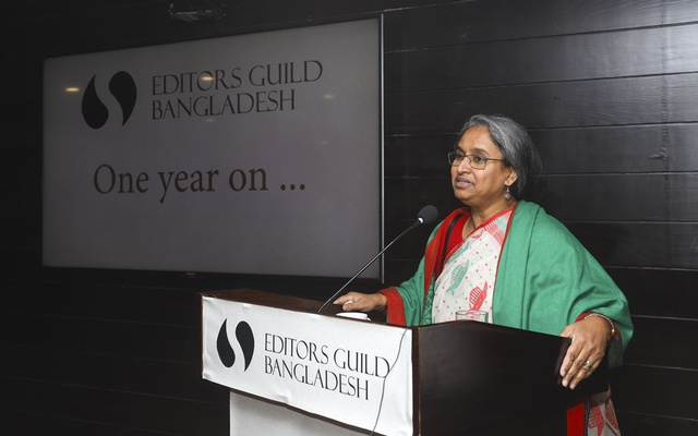 Education Minister Dipu Moni speaks at Editors Guild's first founding anniversary at Amari Dhaka on Saturday.