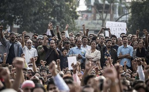 Protesters on Dec 15, 2019, in Guwahait, India. Guwahait is located in the Indian state of Assam, where about two million people failed the citizenship test when it was applied there this fall. (Ahmer Khan/The New York Times)