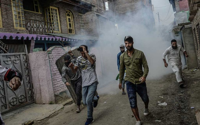 FILE - A violent protest on the outskirts of Srinagar, India on Aug 16, 2019, after the Indian government stripped the Kashmir region of its autonomy. Protesters are speaking out against what they say is a government bent on attacking diversity, the foundation on which India was built. (Atul Loke/The New York Times)