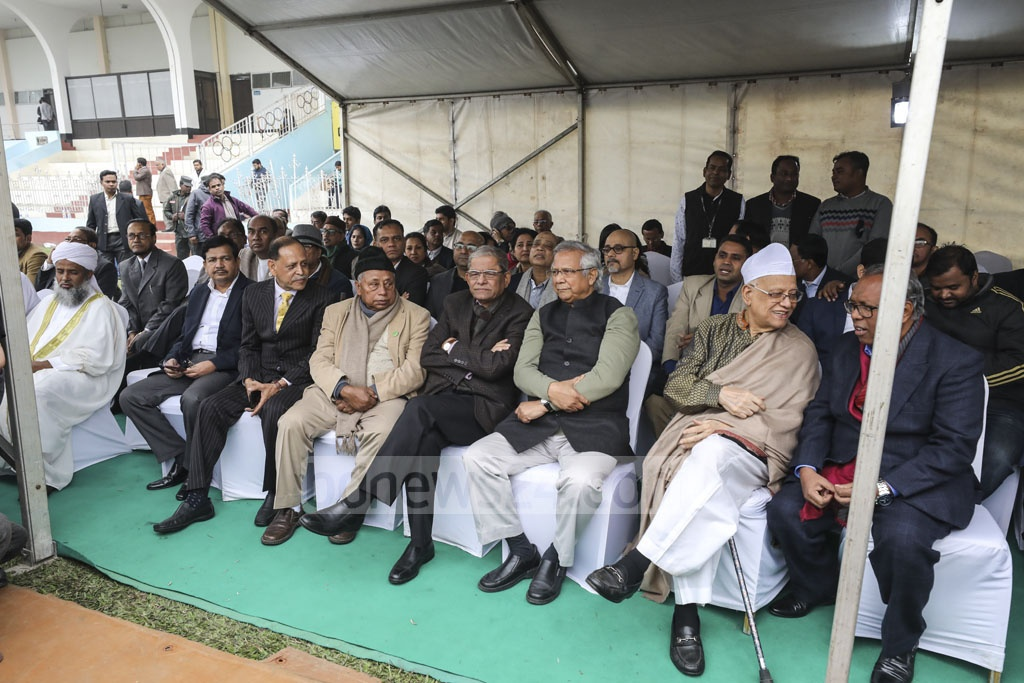 Dignitaries paying their final tributes to Fazle Hasan Abed at the Dhaka's Army Stadium on Sunday.