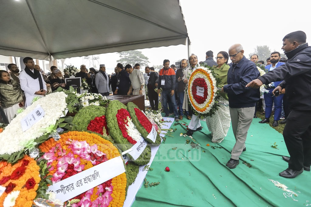 Several social and cultural organisations, and political parties pay homage to Fazle Hasan Abed at the Dhaka's Army Stadium on Sunday.