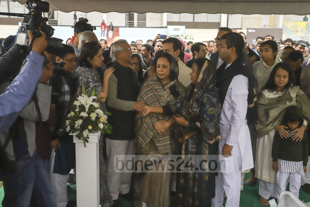 Members of Fazle Hasan Abed's family at the tribute programme at the Dhaka's Army Stadium on Sunday.