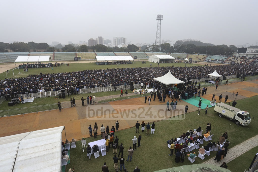 A funeral prayer for Fazle Hasan Abed was held at the Dhaka's Army Stadium on Sunday.
