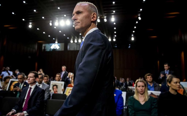 FILE -- Dennis Muilenburg, Boeing's chief executive, appears before the Senate Committee on Commerce, Science, and Transportation in Washington on October 29, 2019. Boeing, which has been mired in crisis since the crashes of two 737 Max jets killed 346 people, fired Muilenburg on Monday, Dec. 23, 2019. (Anna Moneymaker/The New York Times)
