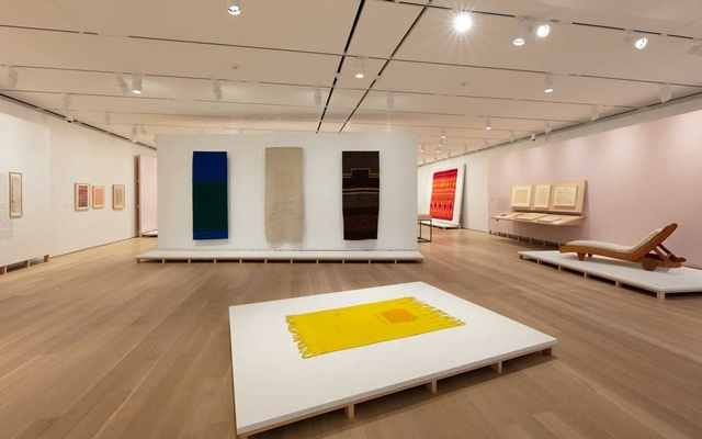 """In an undated image provided by the Art Institute of Chicago, """"In a Cloud, in a Wall, in a Chair: Six Modernists in Mexico at Midcentury"""" includes weavings by Sheila Hicks made in Mexico in the 1960s, foreground and center wall, at the Art Instituted of Chicago. The New York Times"""