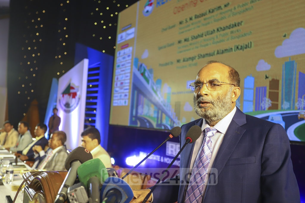 Housing and Public Works Minister SM Rezaul Karim speaks at the inaugural ceremony of a five-day winter fair at the Bangabandhu International Conference Centre in Dhaka on Tuesday. Photo: Asif Mahmud Ove