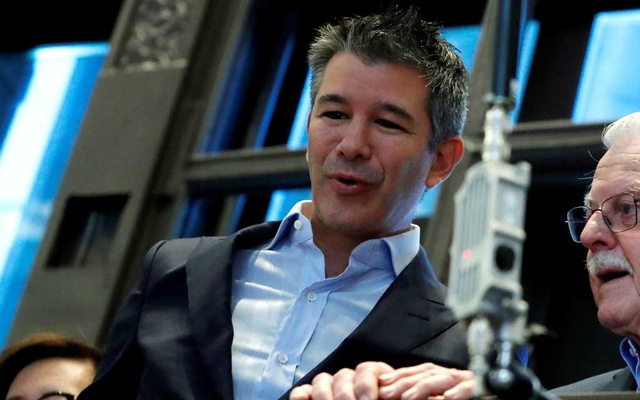 FILE PHOTO: Former Uber Technologies Inc CEO and co-founder Travis Kalanick stands on a balcony above the trading floor of the New York Stock Exchange (NYSE) during the company's IPO in New York, US, May 10, 2019. REUTERS
