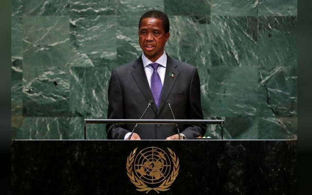 Zambia's President Edgar Chagwa Lungu addresses the 74th session of the United Nations General Assembly at UN headquarters in New York. REUTERS/FILE