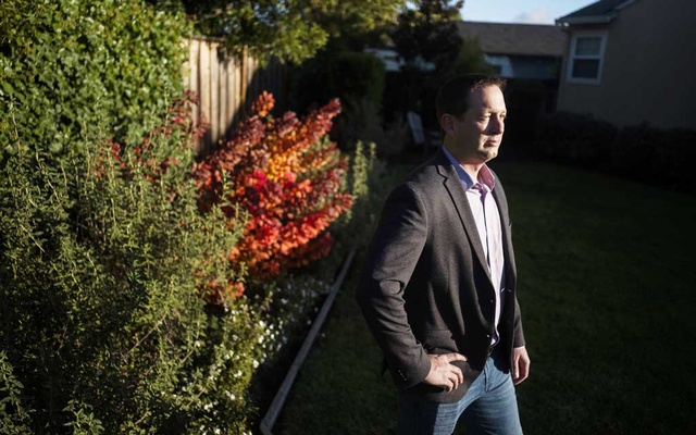 Dr Ryan Cirz, a microbiologist and a co-founder of Achaogen, at his home in San Mateo, Calif, on Dec. 8 2019. Archaogen's drug, Zemdri, showed promise in treating urinary tract infections. (Brian L. Frank/The New York Times)