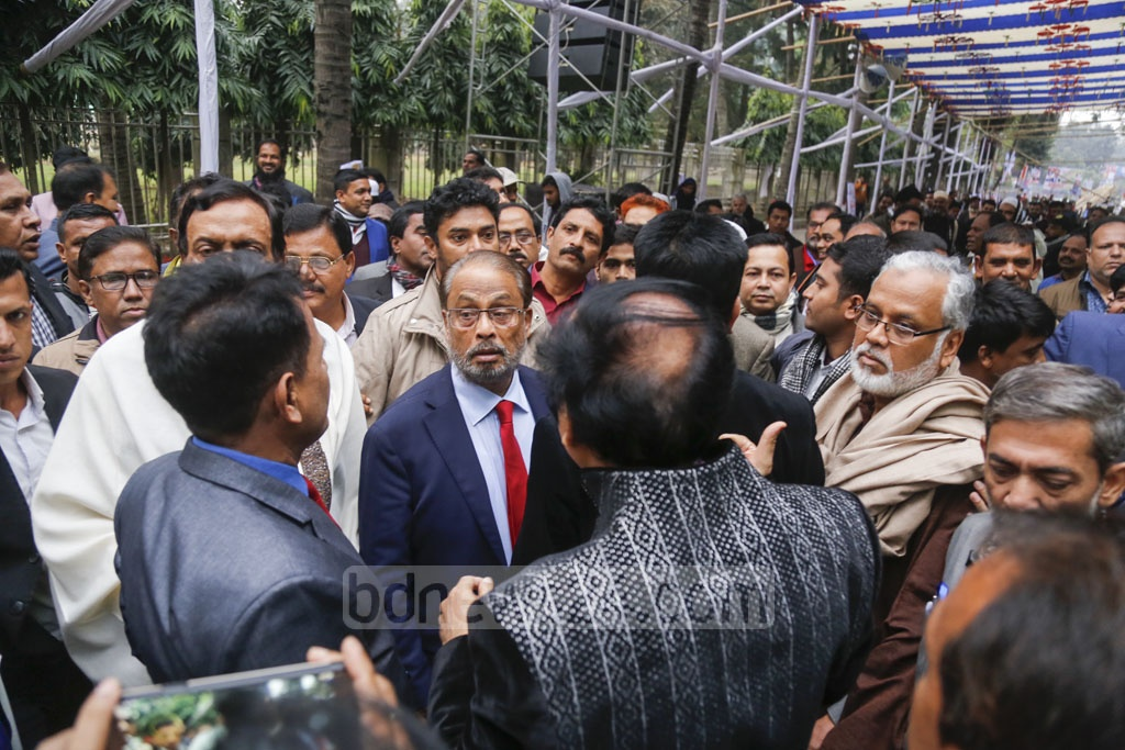 Jatiya Party Chairman GM Quader visiting the Institution of Engineers, Bangladesh, the venue of its national council, Friday on the eve of the first assembly of the party since the death of its founder HM Ershad. Photo: Mahmud Zaman Ovi