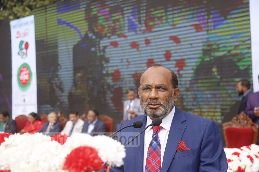 Housing and Public Works Minister SM Rezaul Karim speaks on the 50th founding anniversary of Government Titumir College in Dhaka on Saturday. Photo: Mahmud Zaman Ovi