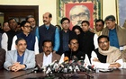 Awami League General Secretary Obaidul Quader announces the names of candidates for the Dhaka city polls from a media briefing at the Awami League chief's Dhanmondi offices on Sunday.