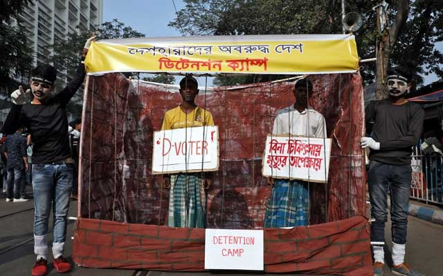 Demonstrators display a make-shift detention camp during a protest against a new citizenship law, in Kolkata, India, Dec 30, 2019. REUTERS