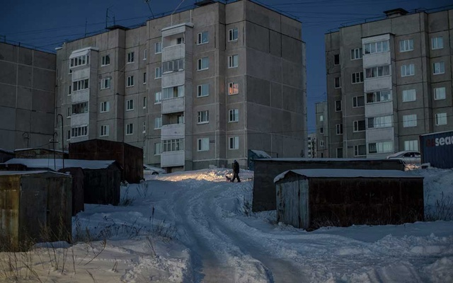Housing in Magadan, Russia, Nov. 28, 2019. The federal government subsidizes daily flights to and from Moscow and is funding new roads, a sports complex and high-speed internet lines. Government subsidies also help keep the interest rate on mortgages in town much lower than in warmer parts of Russia. (Emile Ducke/The New York Times)