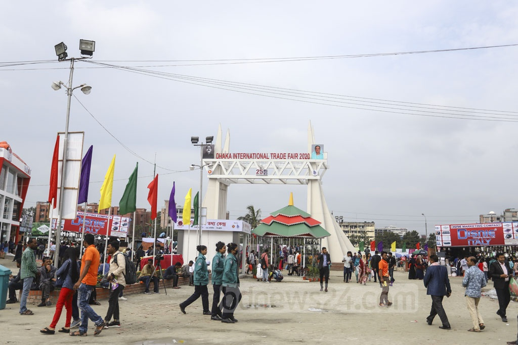 The gate of the Dhaka International Trade Fair 2020 is based on a mixed theme on the National Memorial and Padma Bridge. Photo: Asif Mahmud Ove