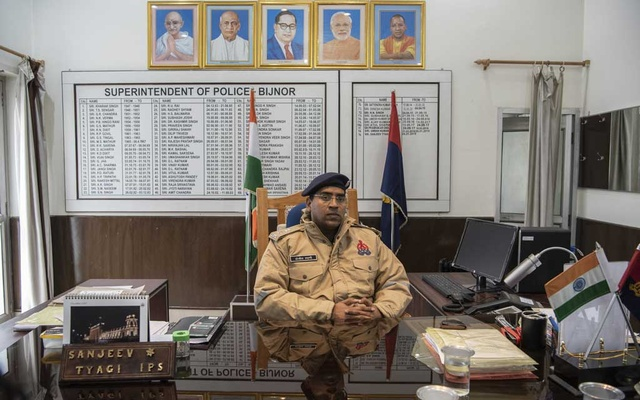 Sanjeev Tyagi, the district police superintendent, at his office in Bijnor, India, Dec 25, 2019. The New York Times