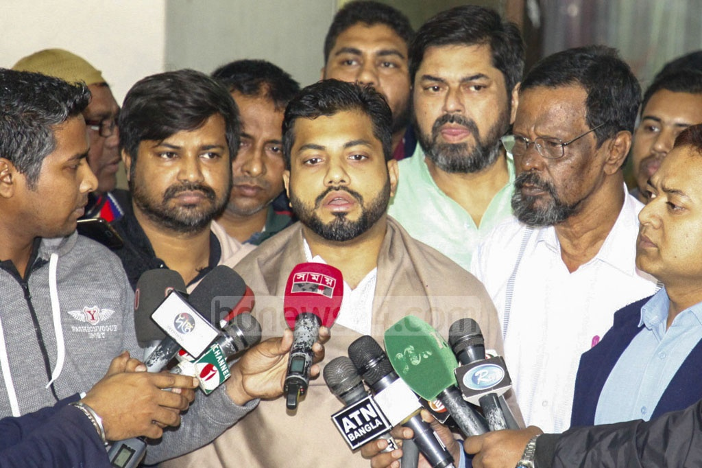 BNP mayor candidate Ishraque Hossain speaking to the media after meeting Election Commission Joint Secretary Md Abdul Baten, also the returning officer of Dhaka South City Corporation, at Baten's office in Gopibagh on Friday.