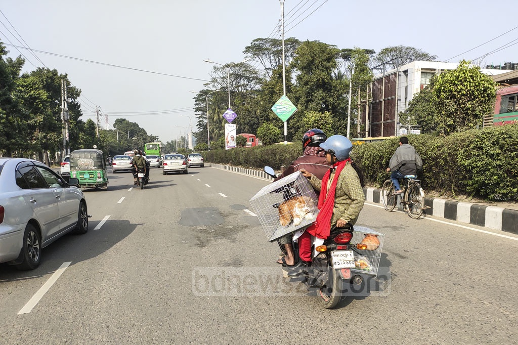 A family travels home by motorbike after buying a pet from Dhaka's Katabon. Photo: Asif Mahmud Ove