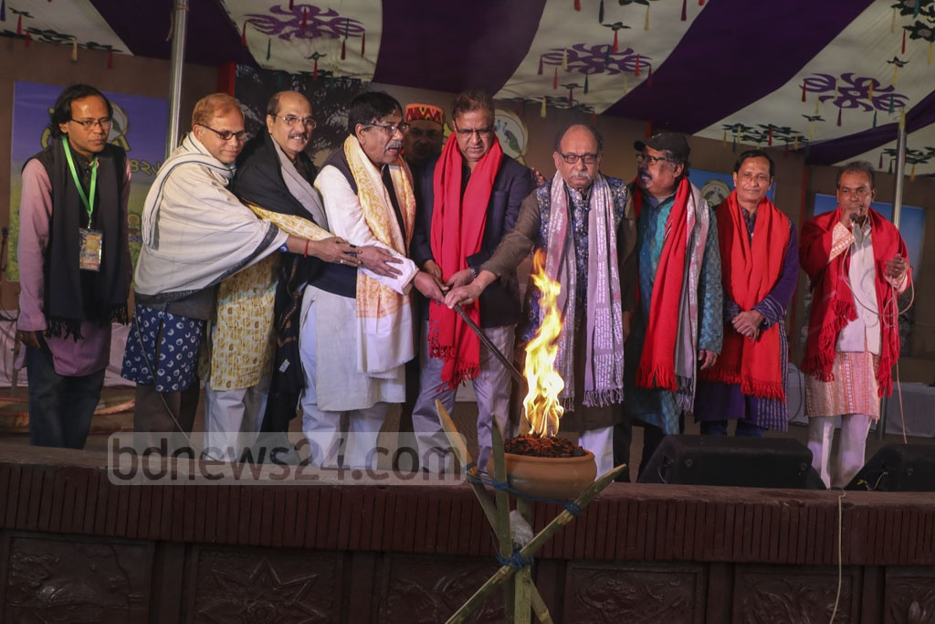 State Minister for Cultural Affairs KM Khalid and other guests inaugurate a three-day winter fair at the Bangla Academy premises in Dhaka on Saturday. Photo: Mostafigur Rahman