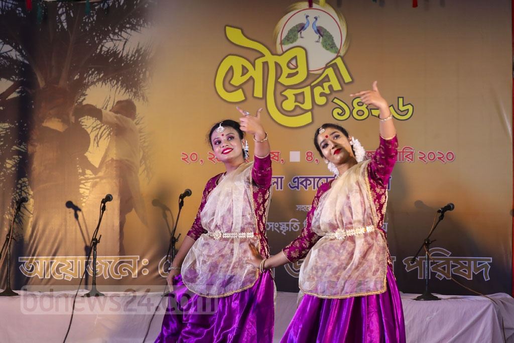Artists perform a dance sequence at the inauguration of a winter fair at the Bangla Academy premises in Dhaka on Saturday. Photo: Mostafigur Rahman