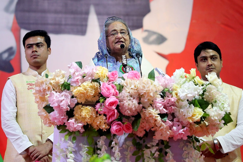 Awami League chief Prime Minister Sheikh Hasina speaks in an event marking Bangladesh Chhatra League's anniversary at the Suhrawardy Udyan in Dhaka on Saturday. Photo: Saiful Islam Kallol
