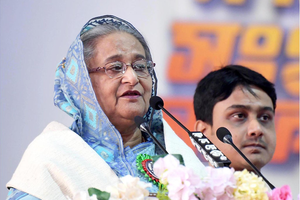 Awami League chief Prime Minister Sheikh Hasina speaks in an event marking Bangladesh Chhatra League's anniversary at the Suhrawardy Udyan in Dhaka on Saturday.