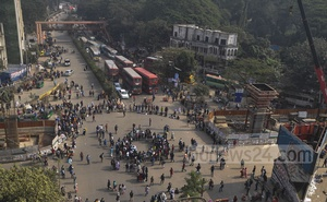 Students of Dhaka University demonstrated blocking the Shahbagh intersection on Monday demanding justice over the rape of a second-year undergraduate student in the capital's Kurmitola on Sunday evening.