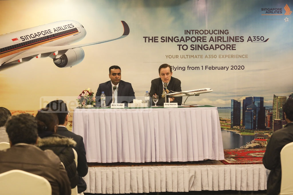George Robertson, the general manager of Singapore Airlines, announces the induction of a brand new Airbus A350-900 aircraft on Dhaka-Singapore route to give passengers a more comfortable journey every day from February 1 at the Pan Pacific. Photo: Mostafigur Rahman
