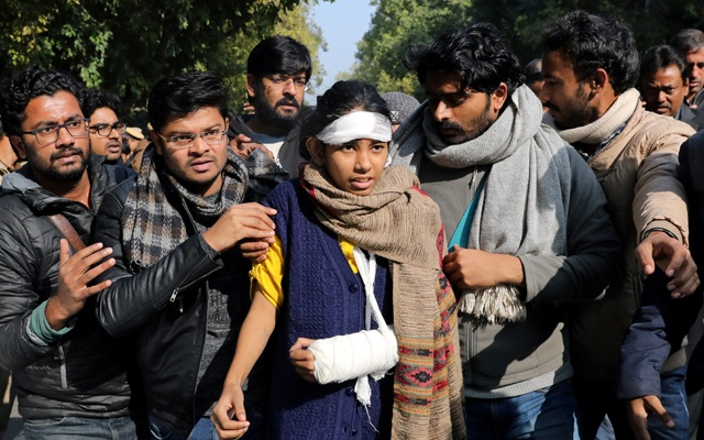 Aishe Ghosh, president of the JNU students' union, joins a protest march against the attacks on the students of Jawaharlal Nehru University (JNU), in New Delhi, India, January 9, 2020. Reuters