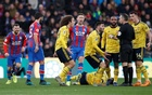 Palace held by 10-man Arsenal as Aubameyang sees red