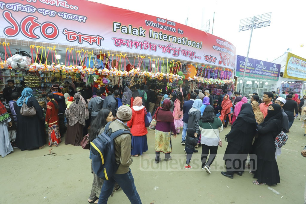 Visitors browse the stalls at the Dhaka International Trade Fair on Saturday. Photo: Asif Mahmud Ove