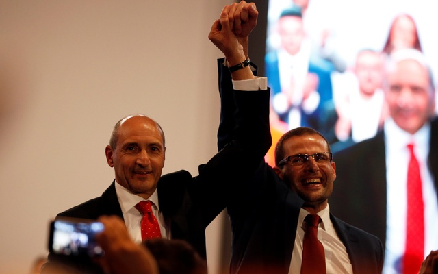 Leadership contenders Robert Abela and Chris Fearne attend outgoing Prime Minister and Labour Party leader Joseph Muscat's final speech at the party's Congress before the election of a new party leader at the Corradino Sports Pavilion in Paola, Malta Jan 10, 2020. REUTERS