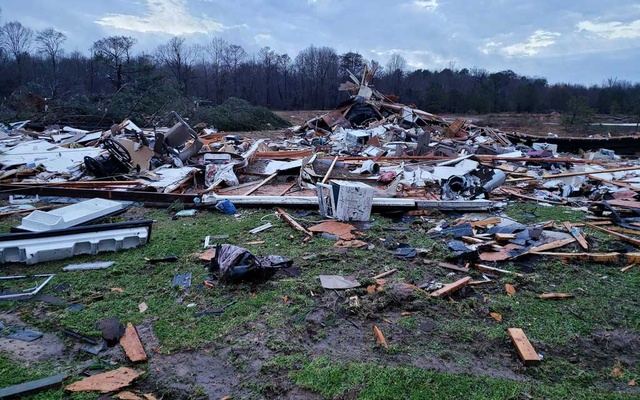 A photo provided by Bossier Parish Sheriff's Office shows debris from Friday nights severe weather in Bossier Parish, La, on Saturday, Jan 11, 2020. The New York Times