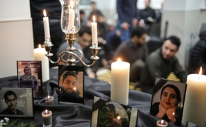 Photographs of student victims of a Ukrainian passenger jet which crashed in Iran are seen during a vigil at University of Toronto student housing in Toronto, Ontario, Canada January 8, 2020. Reuters