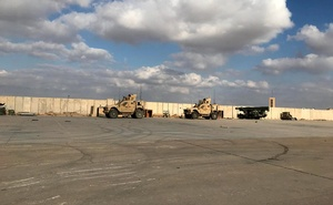 Military vehicles of US soldiers are seen at Ain al-Asad air base in Anbar province, Iraq January 13, 2020. Reuters