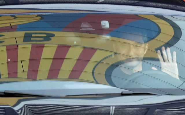 FC Barcelona's coach Ernesto Valverde leaves Joan Gamper training camp, as the team's logo is reflected on the window of his car, Barcelona, Spain January 13, 2020. Reuters