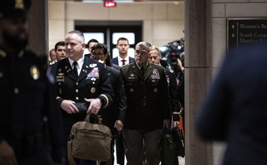 Gen Mark Milley, centre right, the chairman of the Joint Chiefs of Staff, arrives to a closed-door briefing at the Capitol in Washington on Jan 8, 2020. A Pentagon proposal to greatly reduce American forces in West Africa faced criticism from allies on Tuesday, Jan 14, 2020, with French officials arguing that removing United States intelligence assets in the region could stymie the fight against extremist groups. The New York Times