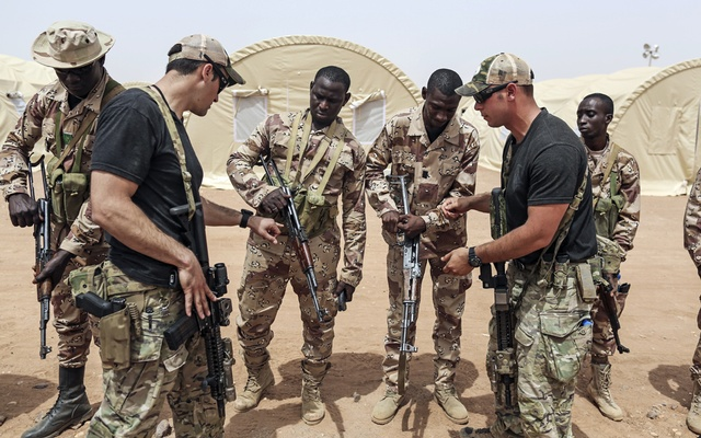 American troops train soldiers near Agadez, Niger, on Apr 12, 2018. The New York Times