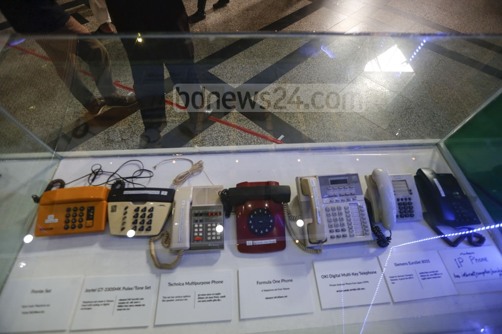 Multiple collections of vintage telephones are being exhibited at Digital Bangladesh Fair at the capital's Bangabandhu International Conference Centre in Agargaon. Photo: Mahmud Zaman Ovi