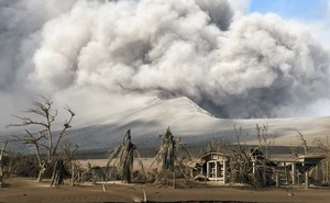 The village of Calauit is buried in ash on Taal Volcano island in the Philippines on Tuesday, Jan 14, 2020. For now, the island is no longer habitable, and volcanologists say a fresh and perhaps more powerful eruption is possible. The New York Times