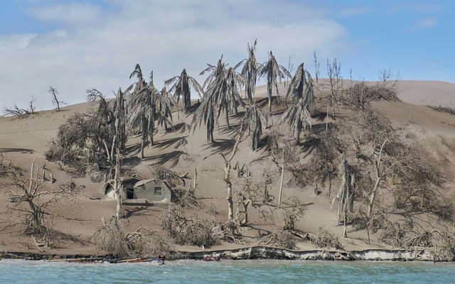 The village of Calauit is buried in ash on Taal Volcano island in the Philippines on Jan 14, 2020. The New York Times