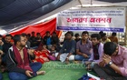 A group of Dhaka University students are on the second day of their hunger strike on Friday at the altar of the Raju Memorial Sculpture on the campus demanding that the Jan 30 Dhaka polling day be changed owing to Saraswati Puja.