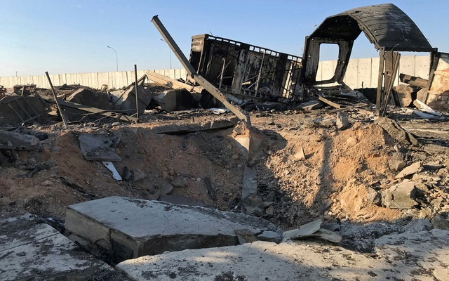 Debris and rubble are seen at the site where an Iranian missile hit at Ain al-Asad air base in Anbar province, Iraq January 13, 2020. REUTERS